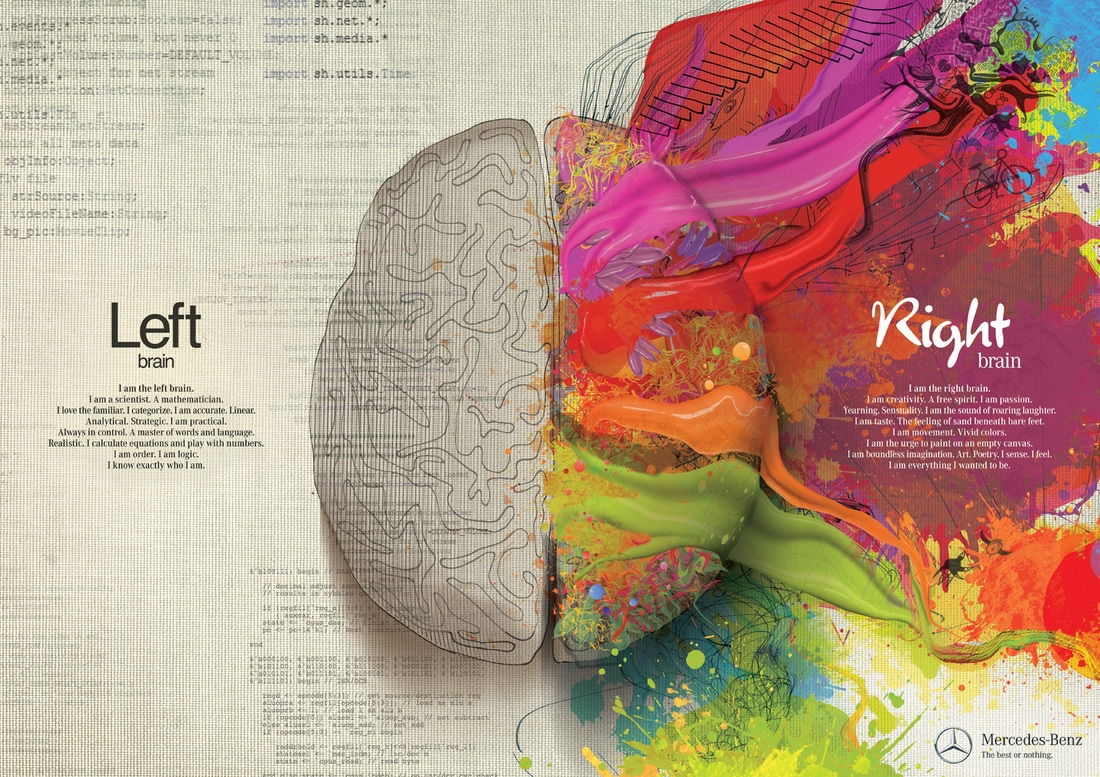 Detailed description of left brain compared to right brain.